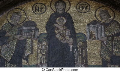 Mosaic at Hagia Sophia - Mosaic Detail Historic Famous...