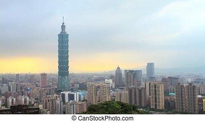 time lapse of Taipei city evenin