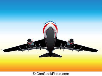 flying up passenger plane - passenger plane flying up on a...