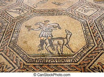 mosaic of the good shepherd in the historic church of...