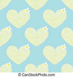 seamless pattern with big flower heart camomile