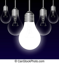Light bulb idea concept on a black background Vector...