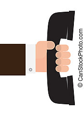 telephone receiver in hand - A vector illustration of a hand...