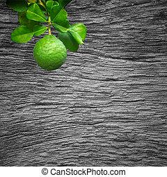 bergamot - Bergamot on the tree with backdrop of old wood.