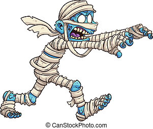 Cartoon mummy. Vector clip art illustration with simple...