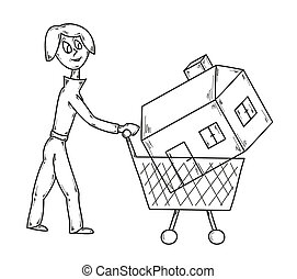 woman and house - vector, sketch, woman with shopping cart...