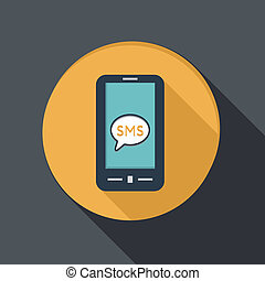 smartphone with cloud of sms dialogue - paper flat icon with...