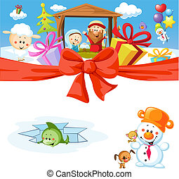 funny vector christmas design with nativity