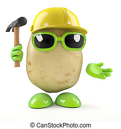 3d Construction worker potato - 3d render of a potato...