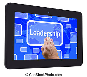 Leadership Tablet Touch Screen Shows Leader Vision Achievement