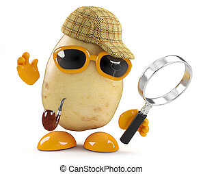 3d Sherlock potato - 3d render of a potato dressed as...