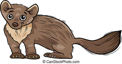 marten animal cartoon illustration - Cartoon Illustration of...
