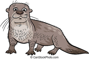 otter animal cartoon illustration - Cartoon Illustration of...