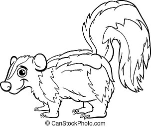 skunk animal cartoon coloring page - Black and White Cartoon...