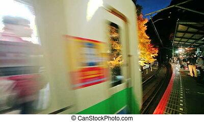 The Kibuneguchi Sta at fall - Kyoto, Japan - November 22,...