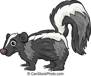 skunk animal cartoon illustration - Cartoon Illustration of...