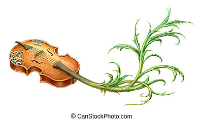 Fairy-tale mystic violin with plant scroll painting....