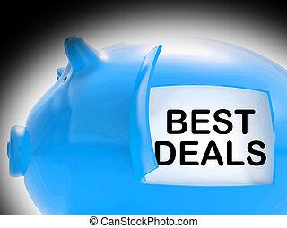 Best Deals Piggy Bank Message Shows Great Offers