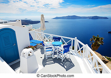 The sea view terrace at luxury hotel, Santorini island,...