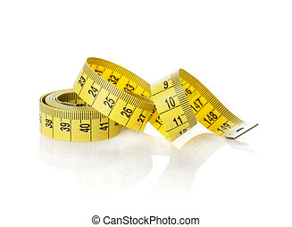 Yellow measure tape. Isolated on white background