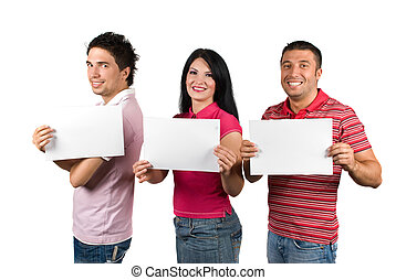 Group of friends with blank signs - Group of three happy...