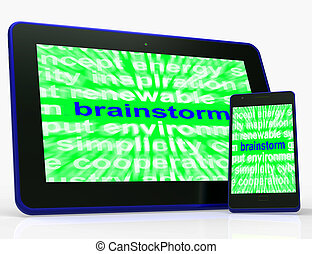 Brainstorm Tablet Means Thinking Creatively Problem Solving And