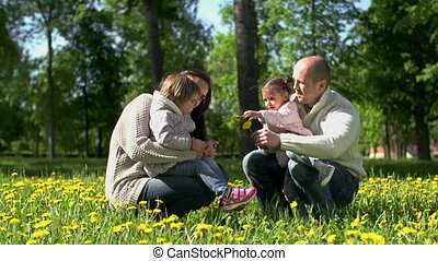 Thrown Posy - Pan of family on the grass collecting...