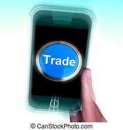 Trade On Mobile Phone Shows Online Buying And Selling