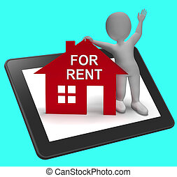 For Rent House Tablet Shows Rental Or Lease Property - For...