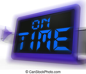 On Time Digital Clock Shows Punctual And Reliable - On Time...