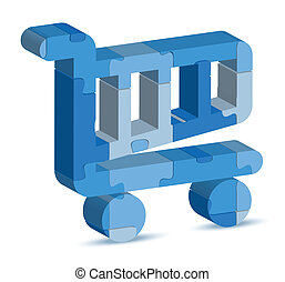 shopping cart icon in puzzle - EPS 10 Vector Illustration of...