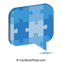 talk balloon icon in puzzle - EPS 10 Vector Illustration of...