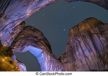 Double Arch at night Moab Utah - Long Exposure light...