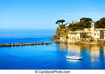 Sestri Levante, silence bay sea harbor and trees on the...