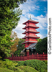Chinese red tower at park in Brussels, Belgium - Chinese...