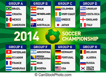 Soccer championship 2014 illustration with groups