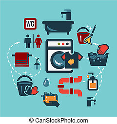 flat cleaning icons set - Cleaning Icons Set in Flat Design...