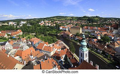 Beautiful summer landscape historical center of Cesky...