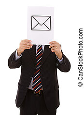 EMail businessman - businessman hiding behind the e-mail...