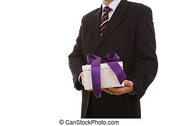gift for you - a businessman with a gift for you (selective...