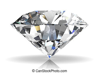 diamond on white background (high resolution 3D image) -...