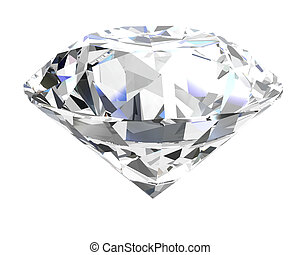 diamond on white background high resolution 3D image