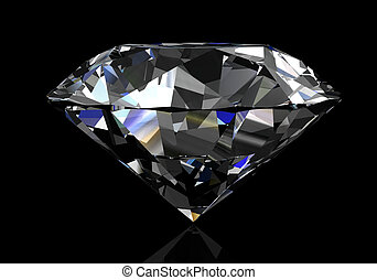 diamond on black background (high resolution 3D image) -...