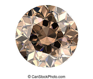 Champagne diamond on white background high resolution 3D...