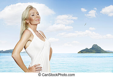summer mood - portrait of young beautiful woman in white...