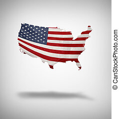 American flag in shape of USA on plain background