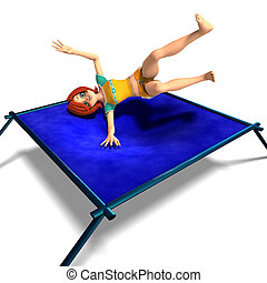 toon kid enjoys trampoline
