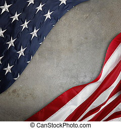 American flag  - Closeup of American flag on grey background