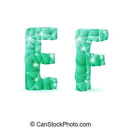 esmeralda, verde, polygonal, fuente