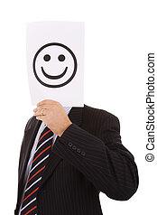 hypocrite businessman hiding behind a big smile symbol